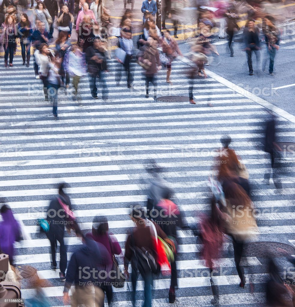 People crossing in shibuya stock photo