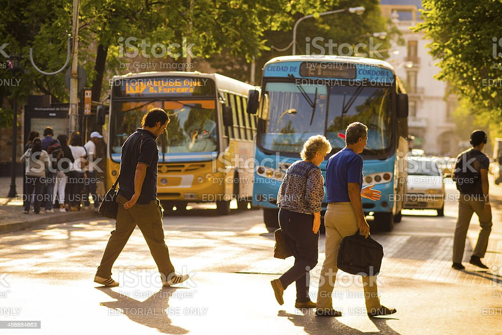 People Crossing Street, Cordoba, Argentina stock photo