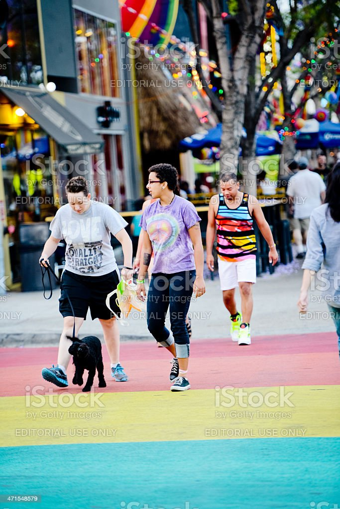 People crossing street in West Hollywood stock photo