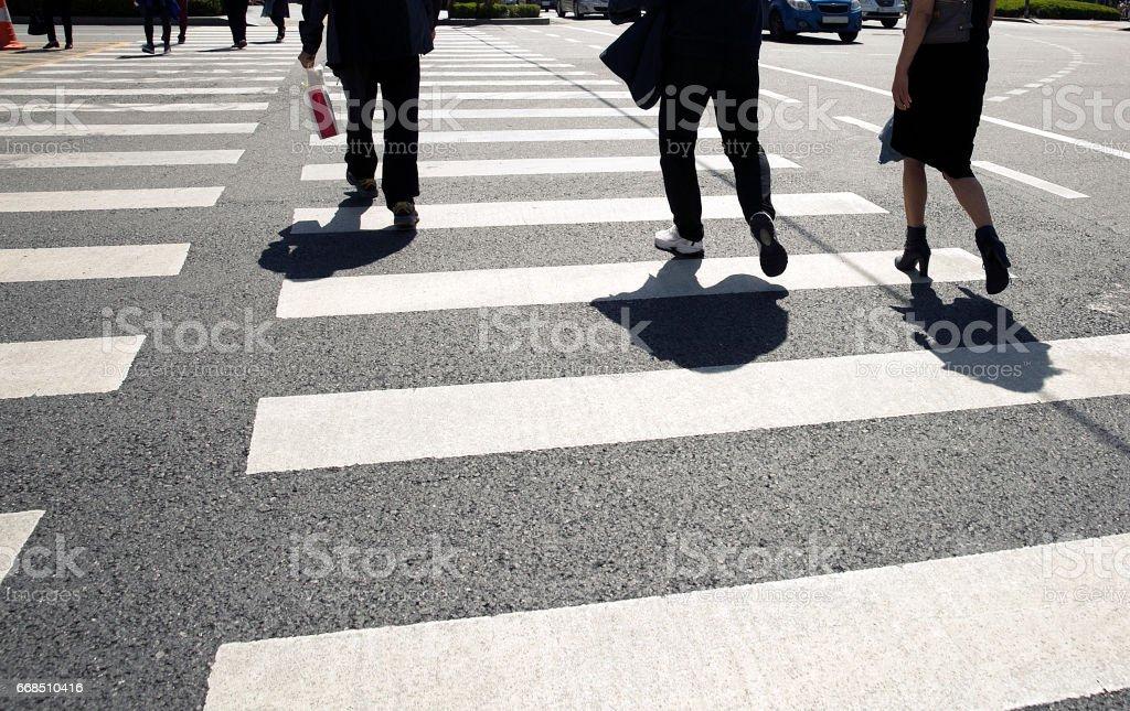 Crosswalk, Walking, Road, Shoes, People