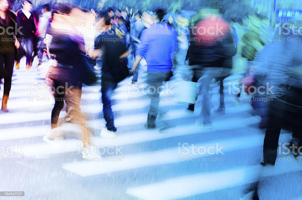 people crowd on zebra crossing street royalty-free stock photo