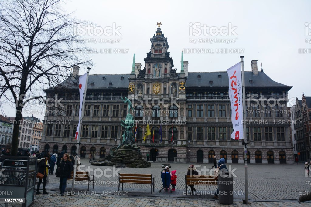 People Crowded In Front Of Antwerp City Hall Stock Photo Download Image Now Istock