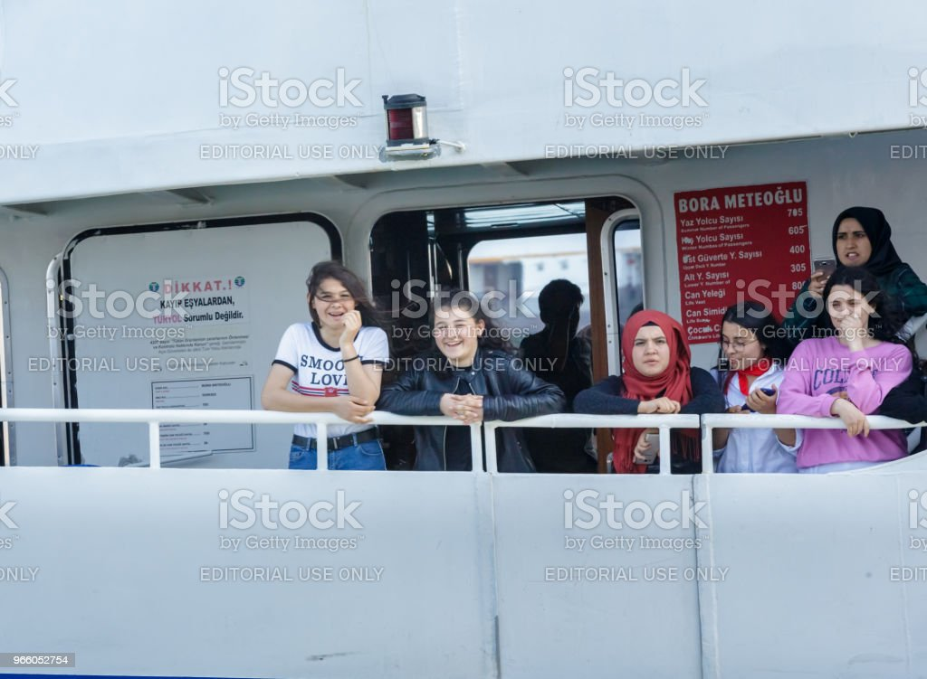 People cruise with ferry in Istanbul,Turkey - Стоковые фото Близость роялти-фри