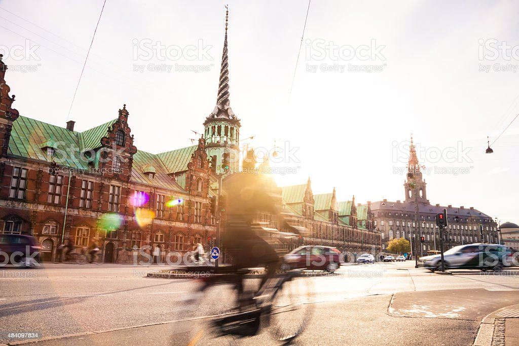People cycling in Copenhagen stock photo