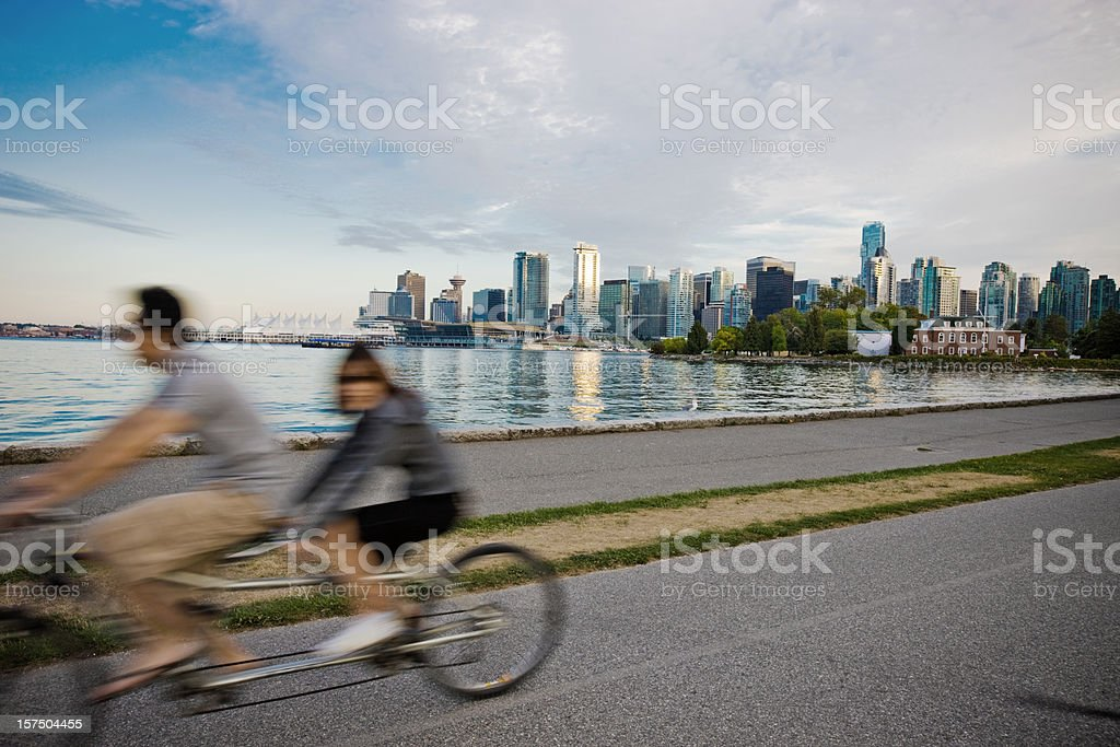 People Cycling in Vancouver royalty-free stock photo