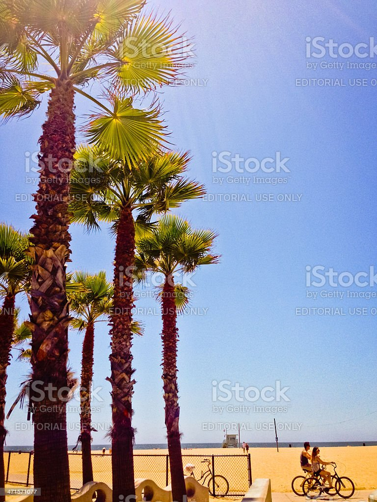 People cycling on Santa Monica Beach royalty-free stock photo