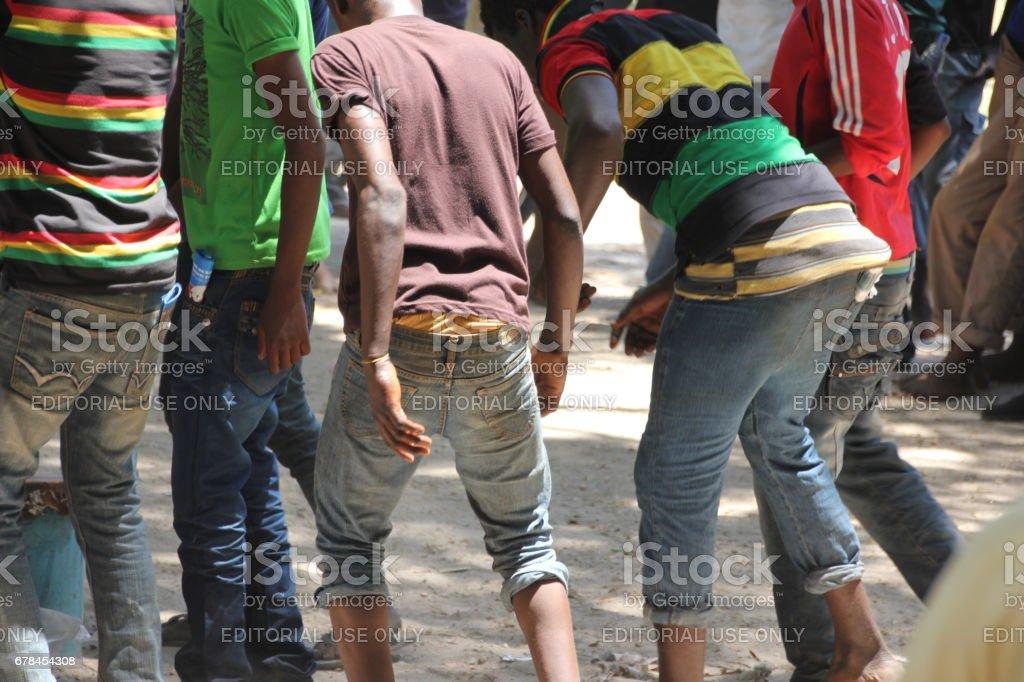 People Dance at Mapinduzi Road, Zanzibar City, Indian Ocean, East Africa royalty-free stock photo