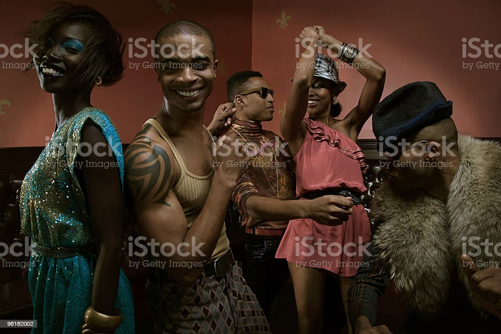 People dancing in nightclub stock photo