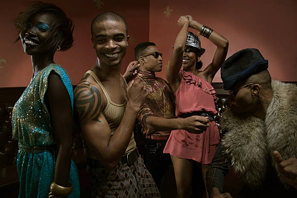 People dancing in nightclub stock photo