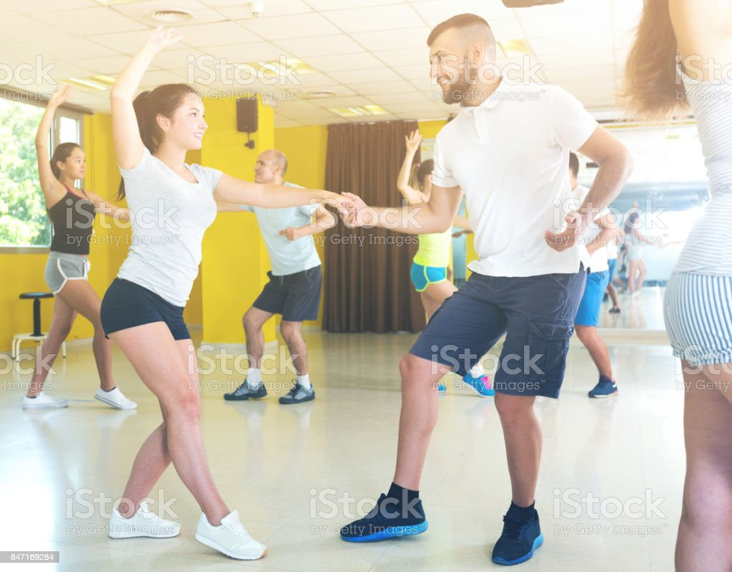 People dancing lindy hop in pairs stock photo