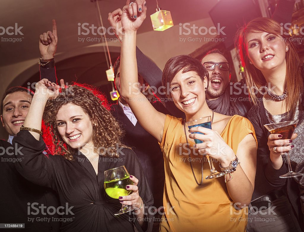 People dancing on a disco pub royalty-free stock photo