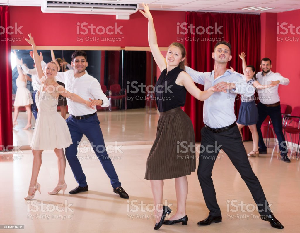 People dancing samba in pairs stock photo