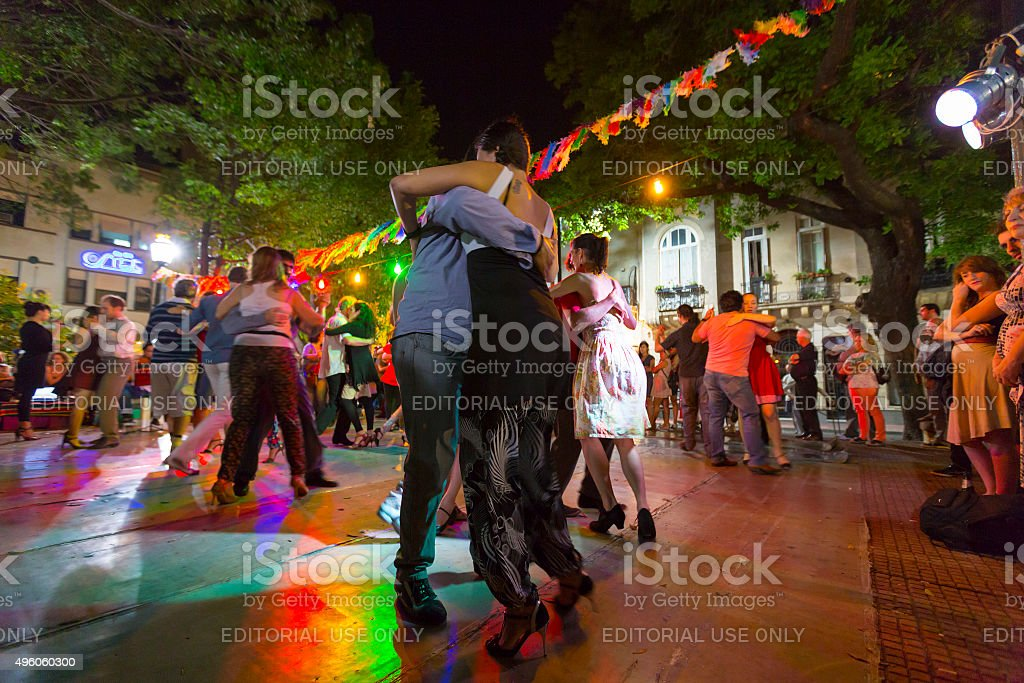 People dancing Tango in Buenos Aires, Argentina stock photo
