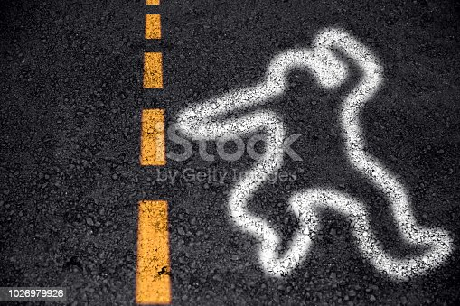 istock people death from car accident sign of body spray paint on asphalt road 1026979926