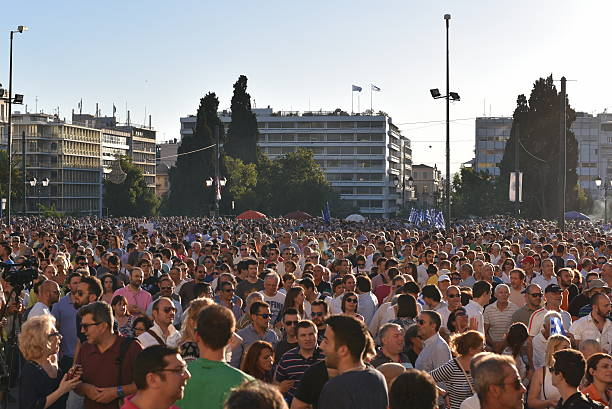 People demand Greek government step down stock photo