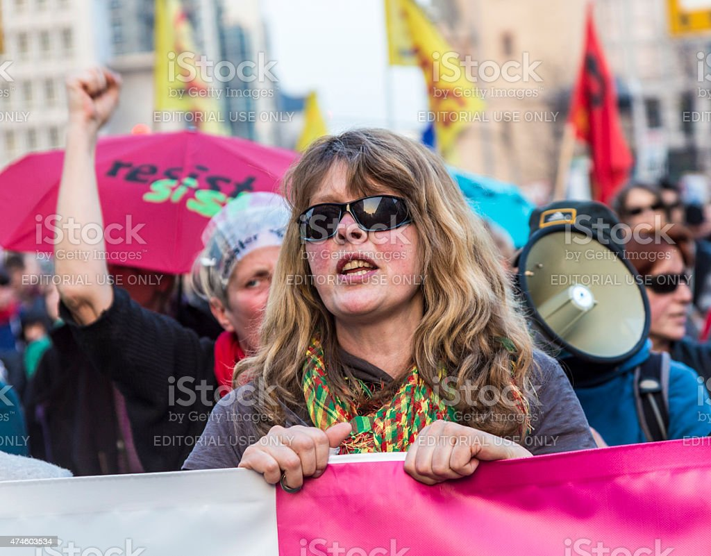 people demonstrate against EZB and Capitalism stock photo