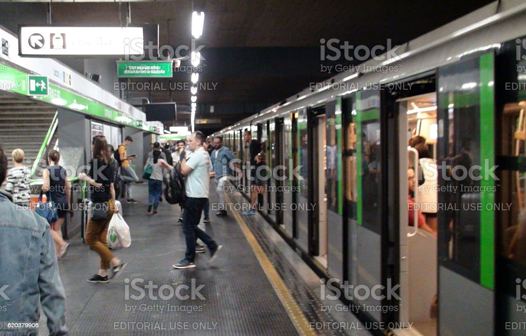 People Departing From Metro After Arrival At Milan Italy Europe zbiór zdjęć royalty-free