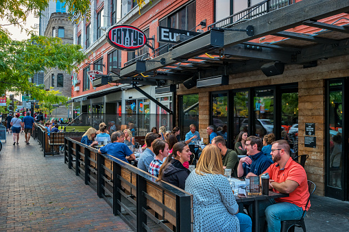 People Dine At Restaurant Patio In Downtown Boise Idaho Usa Stock Photo - Download Image Now