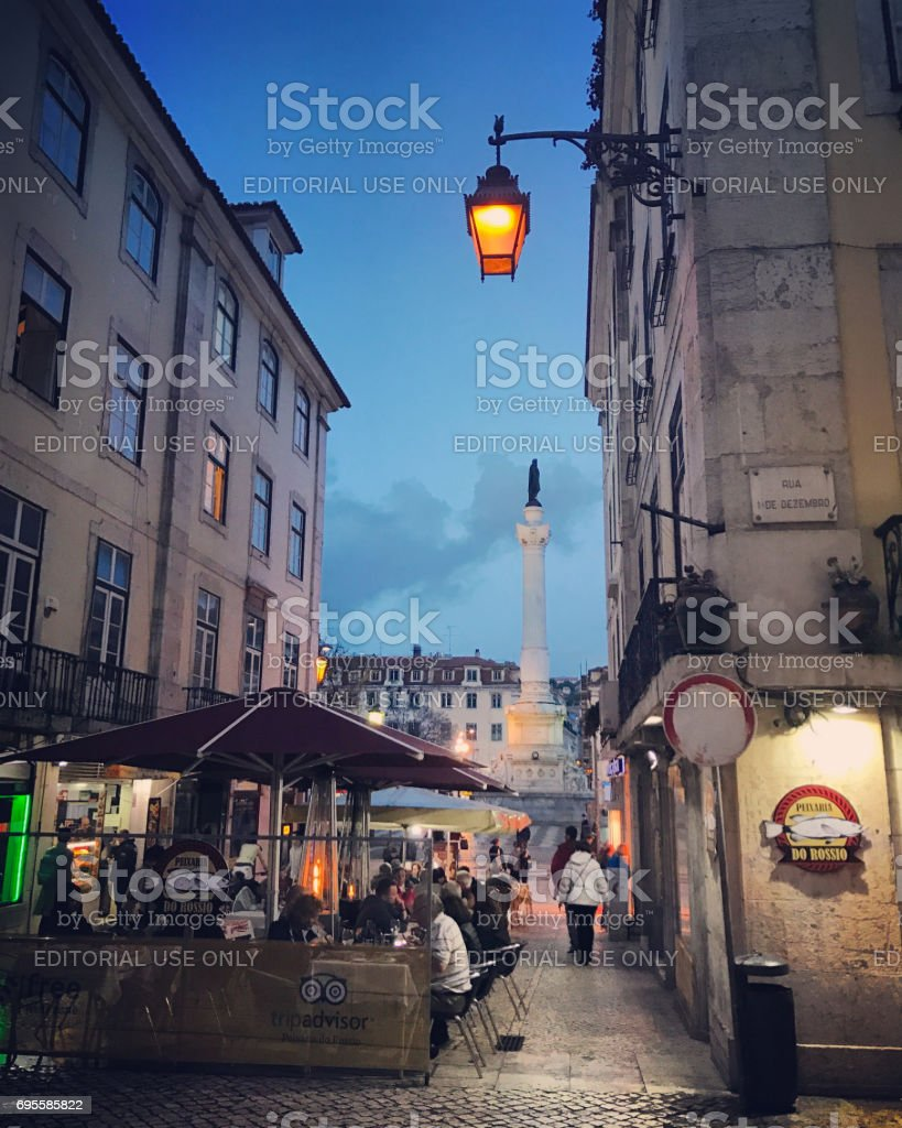 People dining in Lisbon, Portugal stock photo