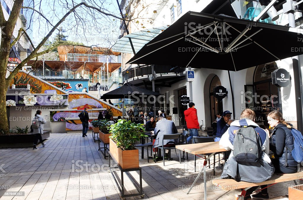 People dinning outdoor in Khartoum Place in Auckland New Zealand stock photo