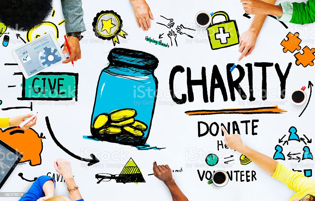People Discussion Meeting Give Help Donate Charity Concept stock photo