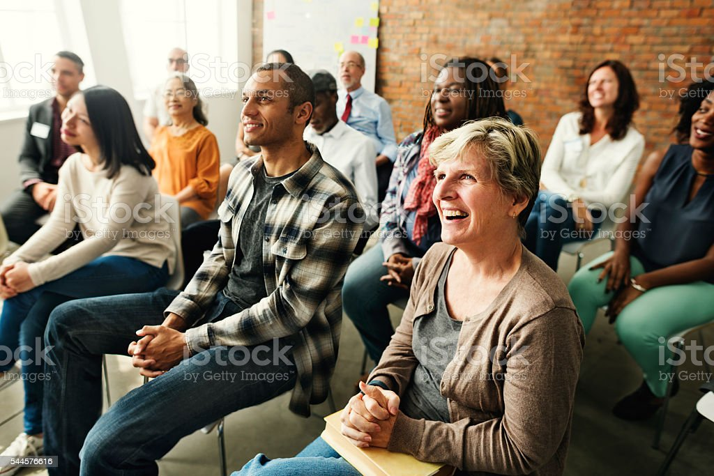 People Diversity Audience Listening Fun Happiness Concept stock photo