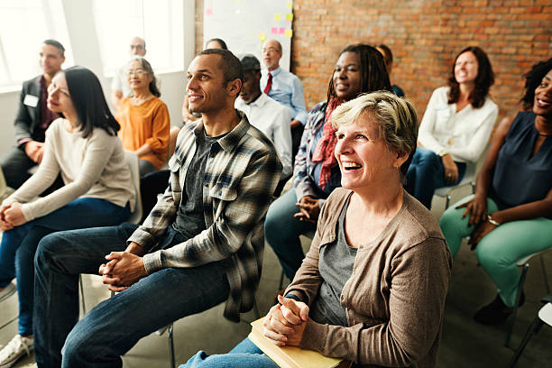 people diversity audience listening fun happiness concept - awards ceremony stock photos and pictures