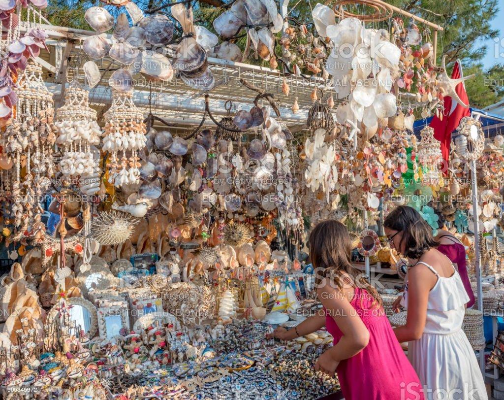 People do shopping in Bodrum,Turkey zbiór zdjęć royalty-free