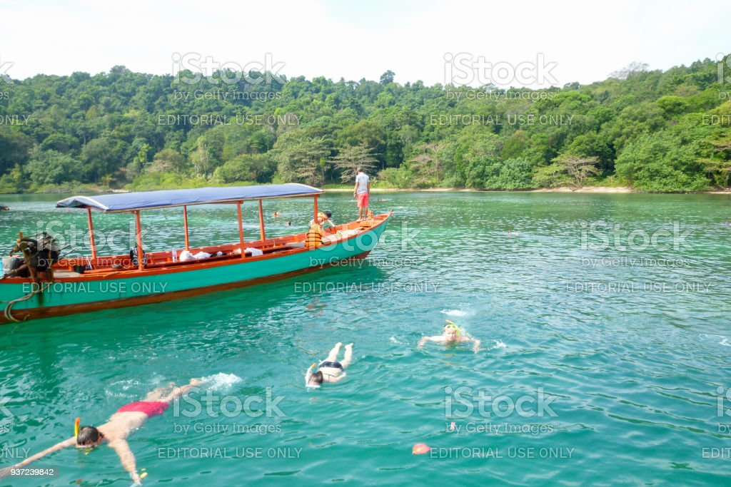 People doing snorkeling at Koh Ta Kiev island on Cambodia stock photo