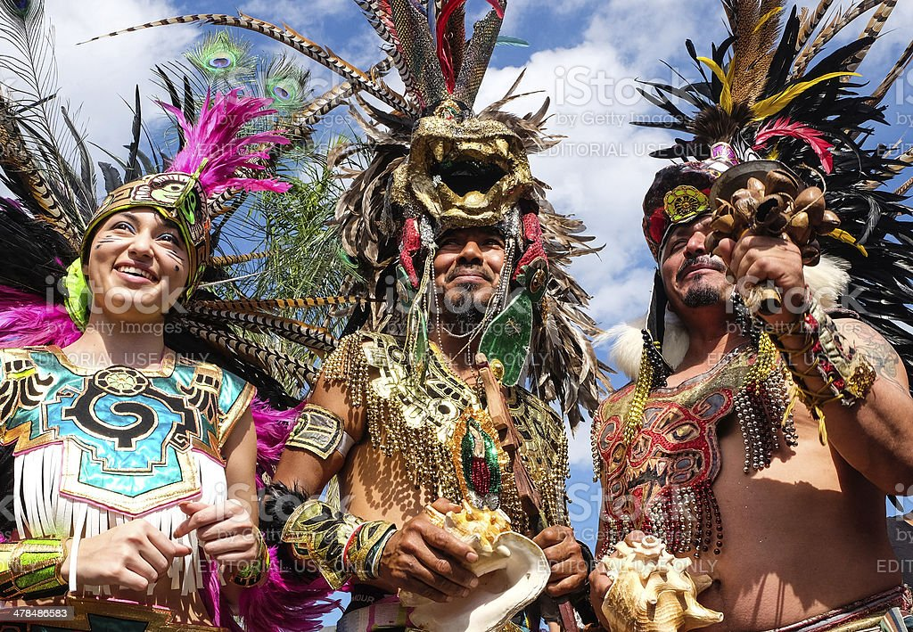 People Dressing as Aztecs Indians stock photo
