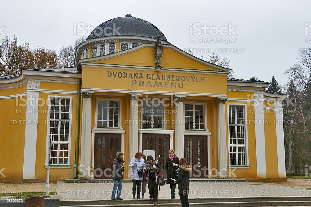 People drink mineral water in spa resort Frantiskovy Lazne stock photo