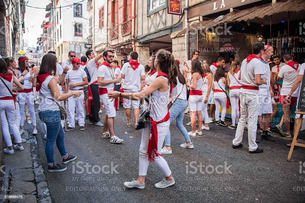 People drinking and dancing in Bayonnes at the Summer festival stock photo