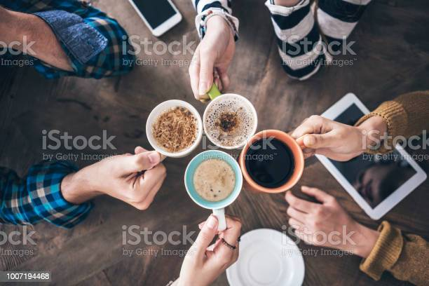 People drinking coffee high angle view