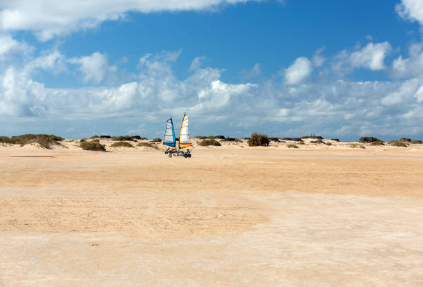 people driving sand yachting on the beach. they are learning and having fun.corralejo, fuerteventura - kitesurfen lernen stock-fotos und bilder