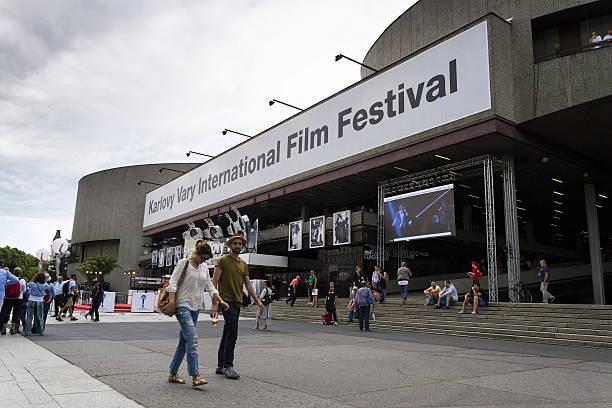 People during Karlovy Vary international film festival stock photo