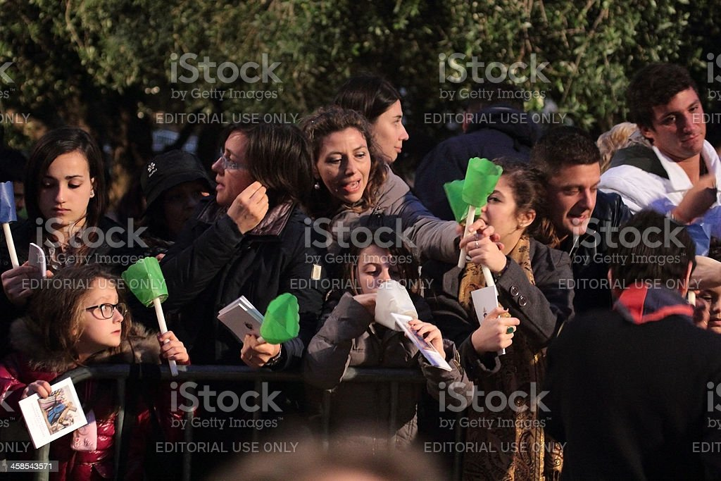 People during Stations of the Cross chaired by Pope Francis stock photo
