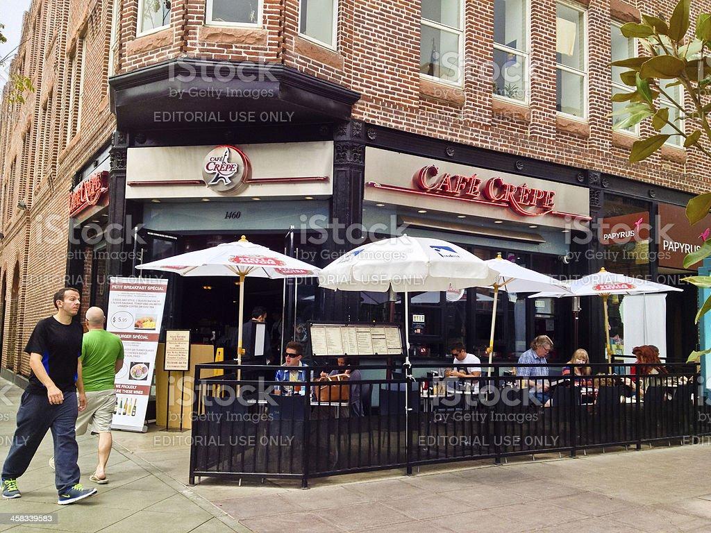 People eating at Cafe Crepe, Santa Monica stock photo