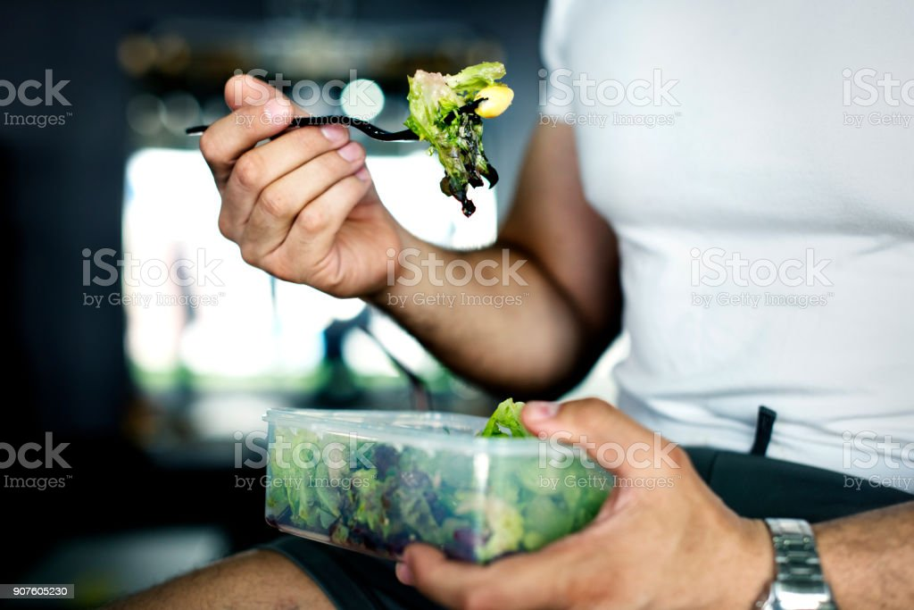 People eating healthy food stock photo