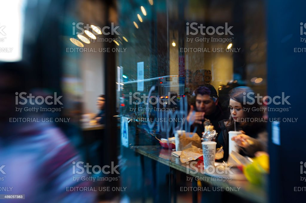 people eating in cafe. stock photo