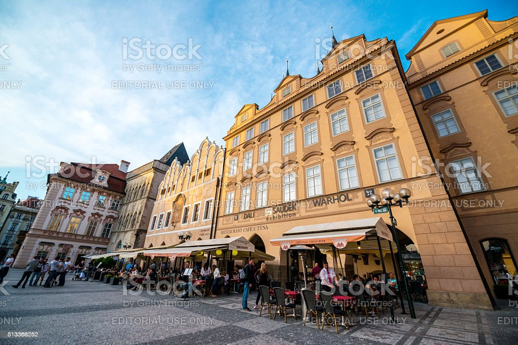 People eating outdoors in Prague stock photo