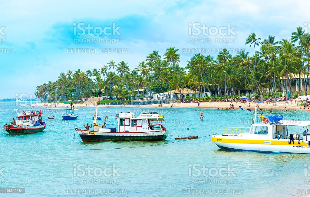 People enjoy a sunny day at Forte Forte Beach stock photo