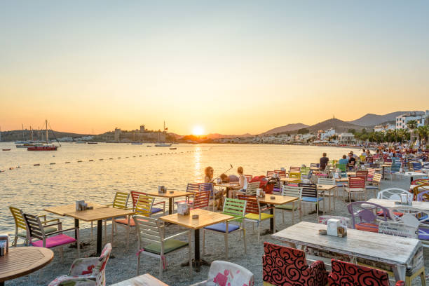 Cтоковое фото People enjoy at beach cafe in Bodrum,Turkey