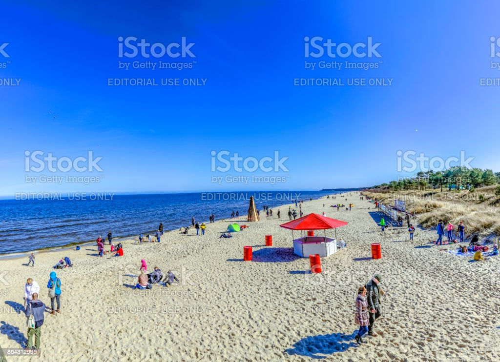 people enjoy the baltic sea at Ahlbeck stock photo