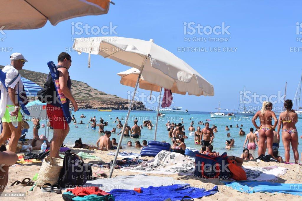People Enjoy The Beaches Of Ibiza Cala Conta Beach Ibiza