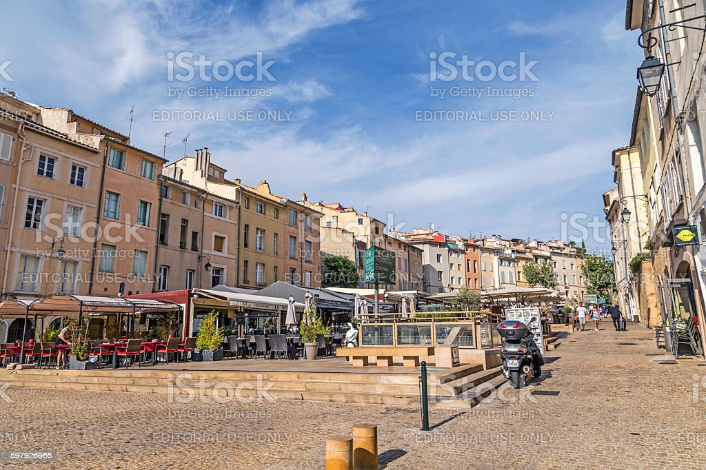 people enjoy the central market place in Aix en Provence stock photo