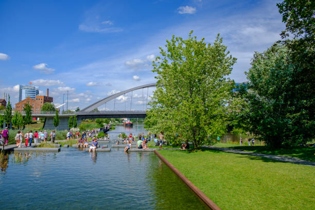 People enjoy themselves at the 2019 Federal Garden Show BUGA in Heilbronn, Germany stock photo
