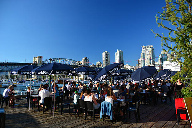 People enjoying a drink in Vancouver stock photo