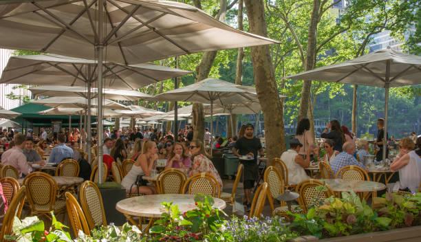 People Enjoying Al Fresco Dinning at Bryant Park Cafe in New York