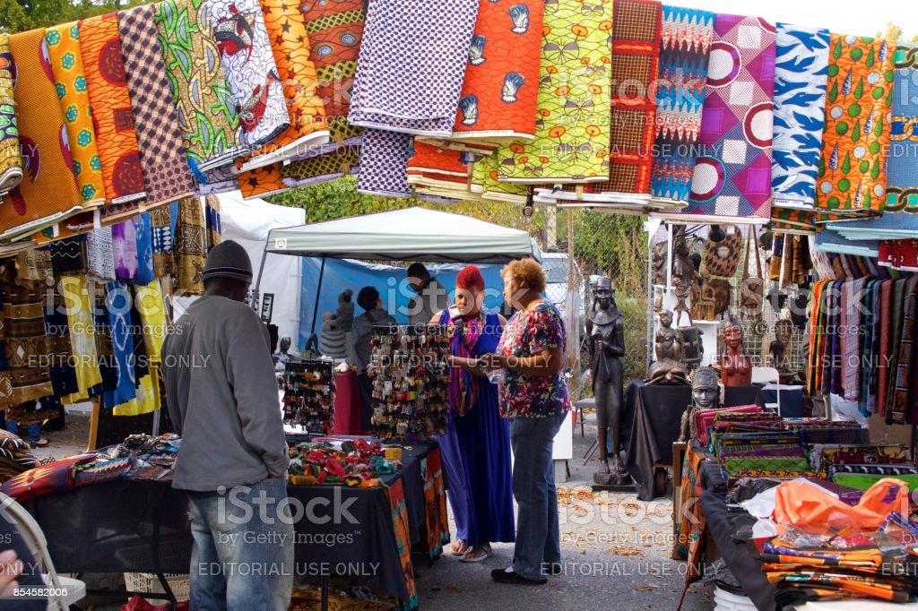 People enjoying an African-American Art Fair stock photo