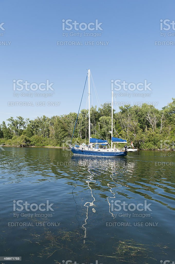 people enjoying day off on lovely ketch, toronto island royalty-free stock photo